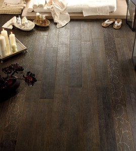 New wood-look tile gives you all the warmth and texture of wood but in a durable ceramic tile.