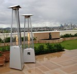 New outdoor heaters are less obtrusive and easier to move than the old dome-type models.