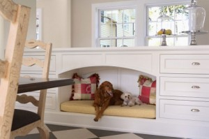 Family pets can be part of the kitchen activities but have their own hideaway too.