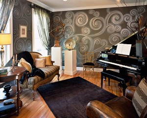 Not all music rooms have to be padded studios — this elegant room is a comfortable place to enjoy music.