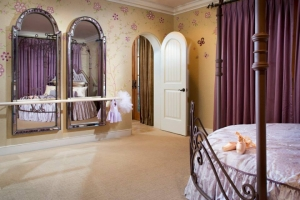 Our precious remodel for a little girl's bedroom included a ballet barre.