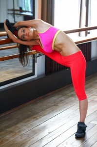 A barre in your home gym provides convenient stretching.